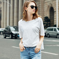 Summer Tshirts Cotton Women 2016 New Arrivals Short Batwing Sleeve O-neck Loose Casual Tops Femme Plus Size M-XXL Black,White