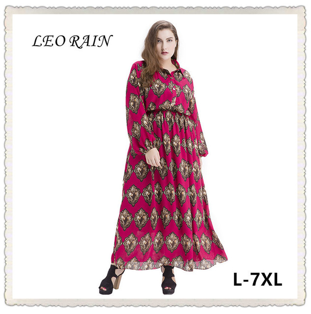 2017 Maxi Fall Vintage Dress Plus Size Print Long Sleeve Chiffon ...