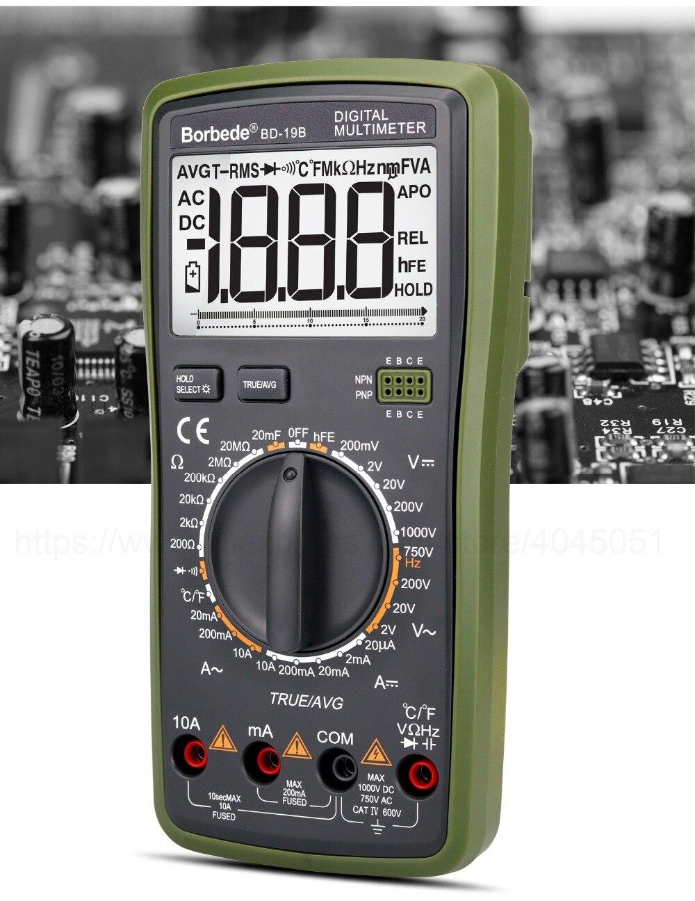 Borbede BD-19B multímetro digital lcd dc tensão