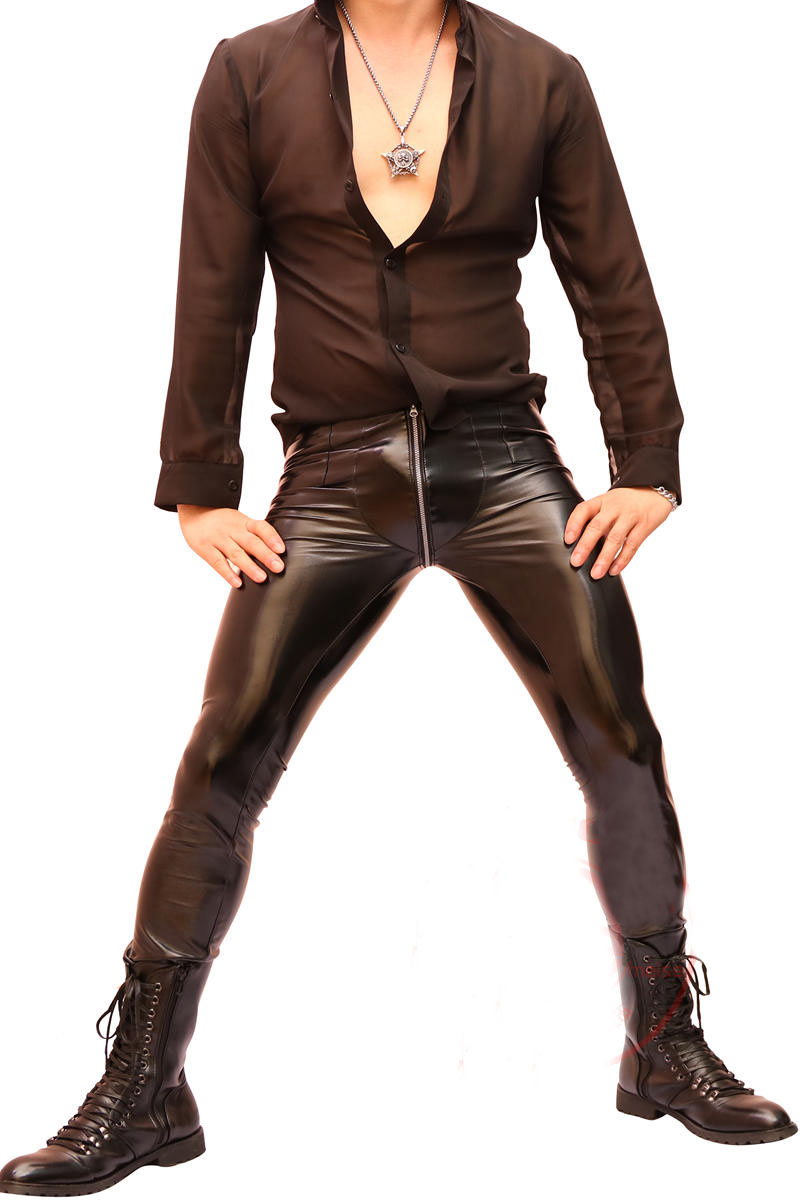 67aaefa8bbe 2019 Men Super Sexy Faux Leather Pants Tights Slim Fit Trousers Zip Crotch  Elastic Night Club New-in Jeans from Men s Clothing on Aliexpress.com
