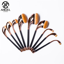 2016 Professional 9PCS Golf Club makeup brush Shaped Foundation Eyebrow Eyeliner Lip Facial Makeup Oval Brushes for lady girl