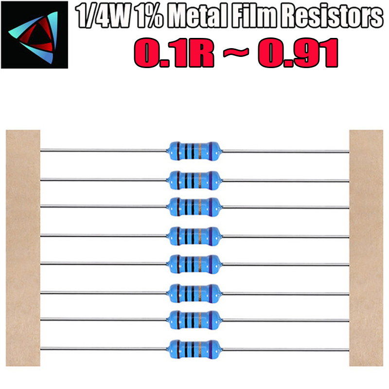 100pcs 1/4W 1% Metal Film Resistor 0.1 0.12 0.15 0.18 0.2 0.22 0.24 0.27 0.3 0.33 0.36 0.39 0.43 0.47 0.5 0.56 0.62 0.68 Ohm