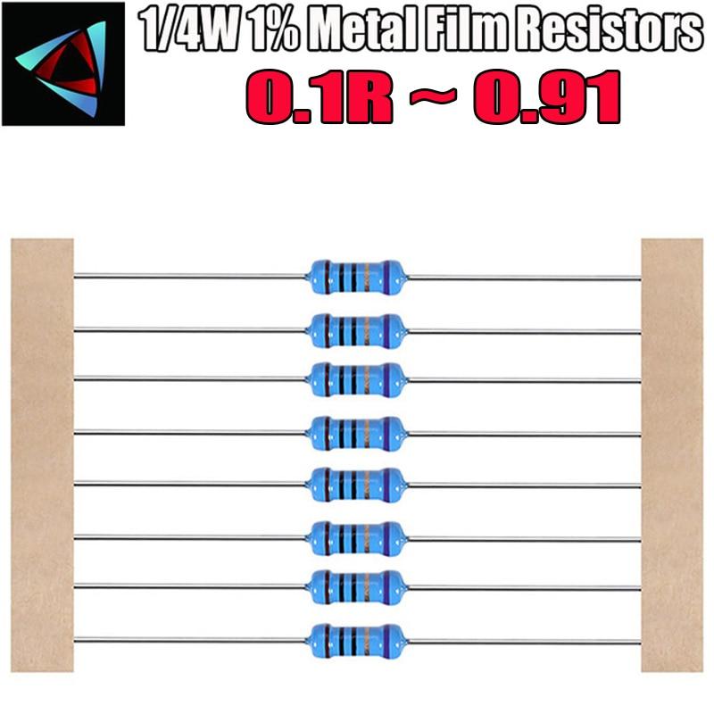 100pcs 1/4W 1% Metal Film Resistor 0.1 0.12 0.15 0.18 0.2 0.22 0.24 0.27 0.3 0.33 0.36 0.39 0.43 0.47 0.5 0.56 0.62 0.68 Ohm