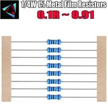 100pcs 1/4W 1% Metallo film resistor 0.1 0.12 0.15 0.18 0.2 0.22 0.24 0.27 0.3 0.33 0.36 0.39 0.43 0.47 0.5 0.56 0.62 0.68 ohm