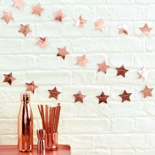 FENGRISE Rose Gold Sparkles Banner Round Star Circle Paper Garland Birthday Party Decoration Supplies Wedding Hanging