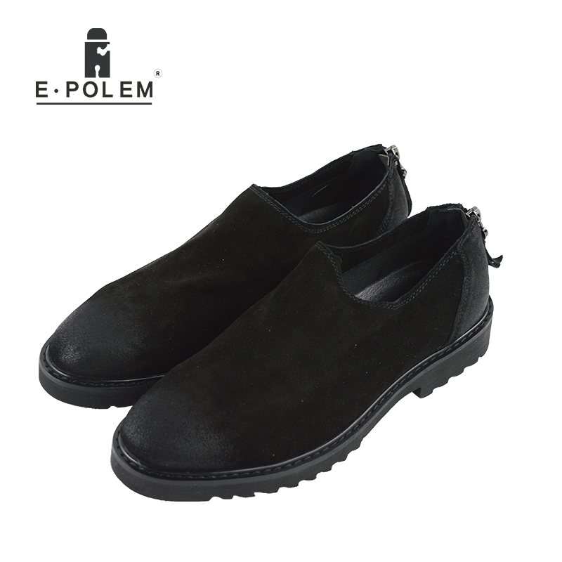 2017 New Style Black And Brown Men Han Edition Leather Flats Loafers Shoes Spring Autumn Casual Lace-Up Round Toe Shoes new 2015 men canvas shoes casual men flats shoes casual spring autumn fashion men flats shoes black brown fashion low style
