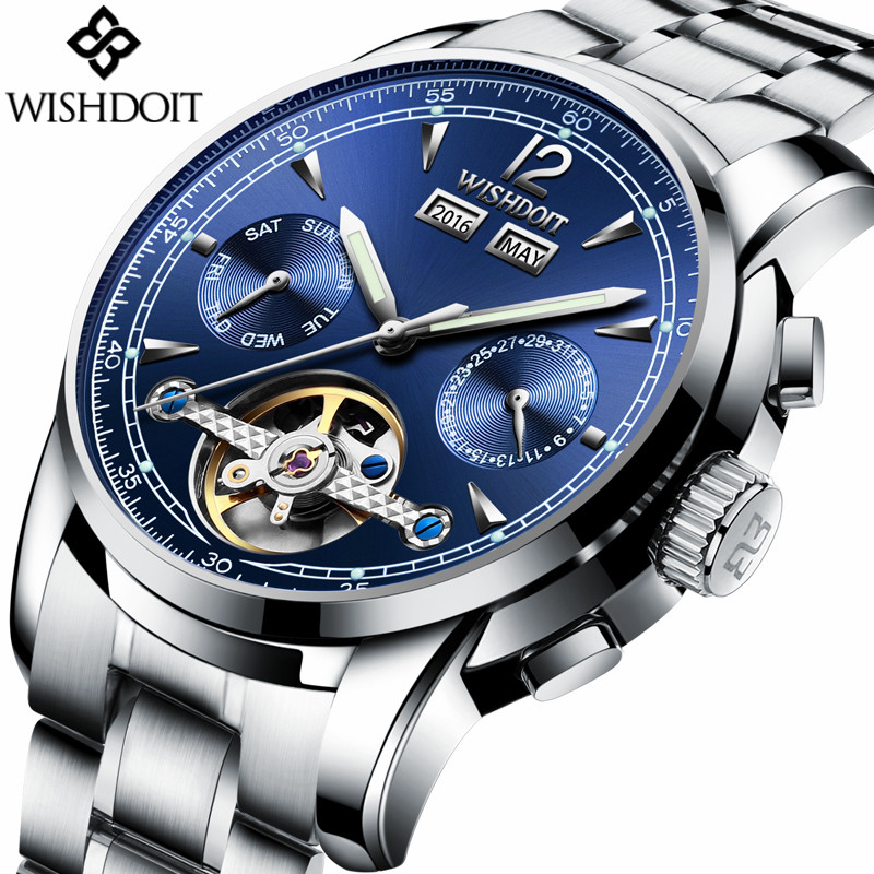 WISHDOIT Luxury Brand Men Fashion Business Tourbillon Mechanical Watch Automatic Date Stainless Steel Waterproof Male Watches