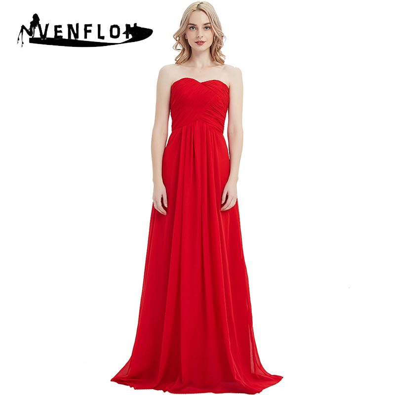 VENFLON 2019 Elegant Chiffon Bridesmaid Wedding Long Party Dress Women Summer Sexy Strapless Maxi Dresses Female Plus Size 3XL-in Dresses from Women's Clothing