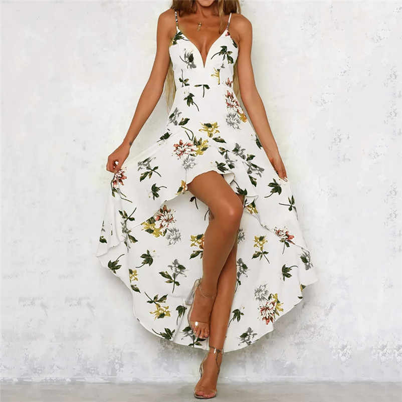 8457209b7e4 HOT sell NEW Fashion summer dress 2018 Womens Holiday Plunge Ladies Maxi  Long Summer Floral Print
