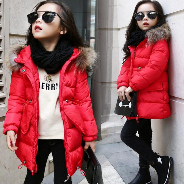 b4b3cd6f583d Winter Kids Coat Baby Girl Teens Clothes Girls cotton warm Outwear Jacket  Cotton-padded Children Clothing Jackets 8 10 12 Yrs