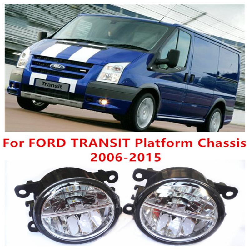 For FORD TRANSIT Platform Chassis  2006-2015  10W Fog Light LED DRL Daytime Running Lights lamps Car Styling led front fog lights for ford transit platform chassis 2006 2015 car styling round bumper drl daytime running driving fog lamps