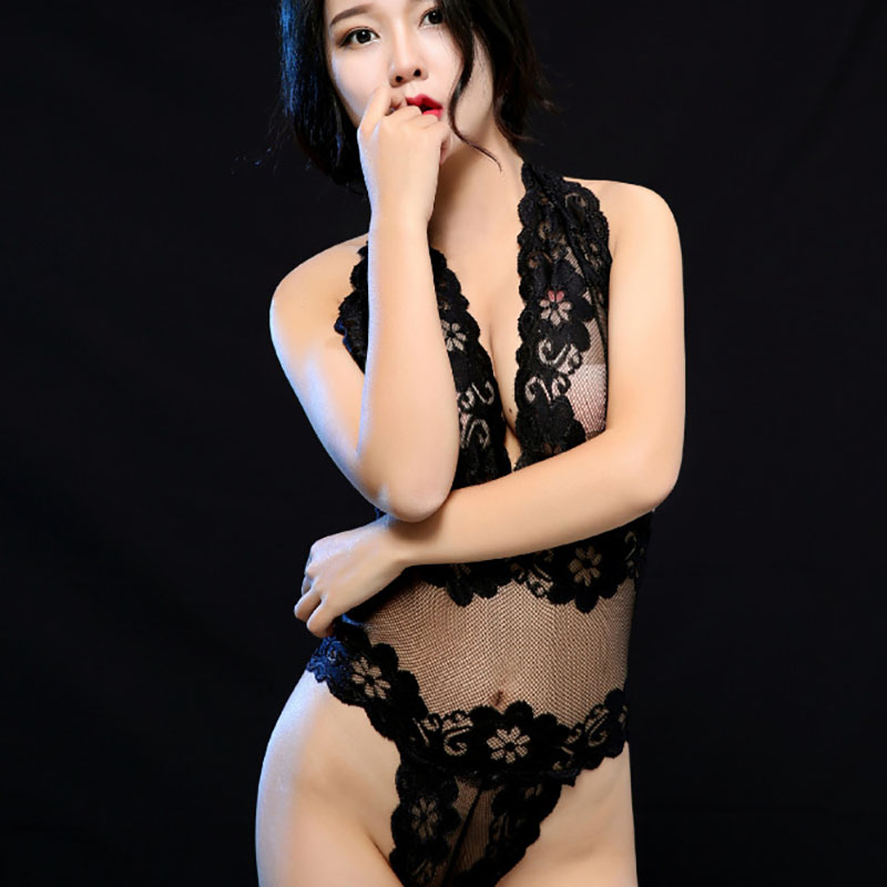 ERFSQIYALHJ Lace Sexy Lingerie Exposed Bust Transparent Bodysuit for Women Erotic Babydoll Tight fitting Siamese Black Purple in Teddies Bodysuits from Novelty Special Use