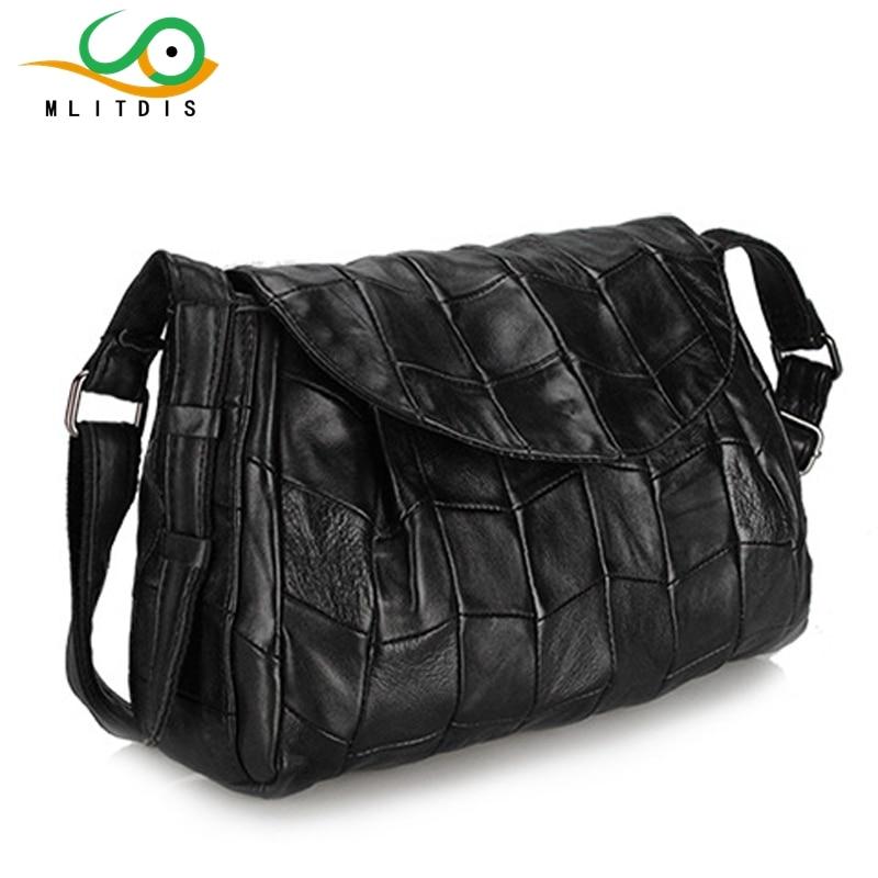 ФОТО MLITDIS Leather bags 2017 new winter tide Street trend between within large capacity Xiekua package sheepskin stitching