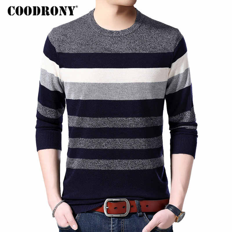 COODRONY Sweater Men Knitwear Pull Homme Streetwear Casual Pullover Men Clothes Autumn Winter Wool Sweaters Striped Shirt 91051