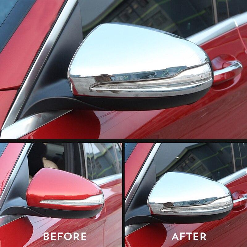 Décoration de rétroviseur de voiture décoration de coque autocollant garniture ABS placage pour Mercedes Benz GLC C classe W205 accessoires Auto