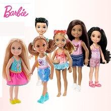 Original Barbie DYT90 Mini Dolls 6Pcs Model girls Fashion Cute Toy dress change For Brthday Children Gifts Girls