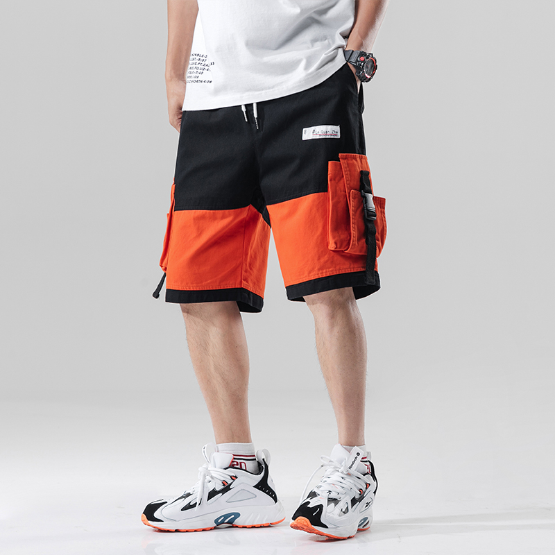 Streetwear Summer Casual Shorts Men Fashion Ribbons Pockets Cargo Shorts Bermuda Knee Length Patchwork Men's Shorts