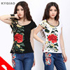 2016 Girls Summer Ethnic White Black Floral Embroidery T Shirt Plus Size Retro M 3xl Cotton