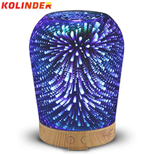 16 colors Essential Oil Diffuser kolinder Glass 100mL Aromatherapy Diffuser  aroma Lamp Ultrasonic Aroma Cool Mist Humidifier