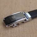 Jinhuangping nuevo diseño del hombre oficial negro de cuero Real de la correa de trinquete con Simple hebilla automática