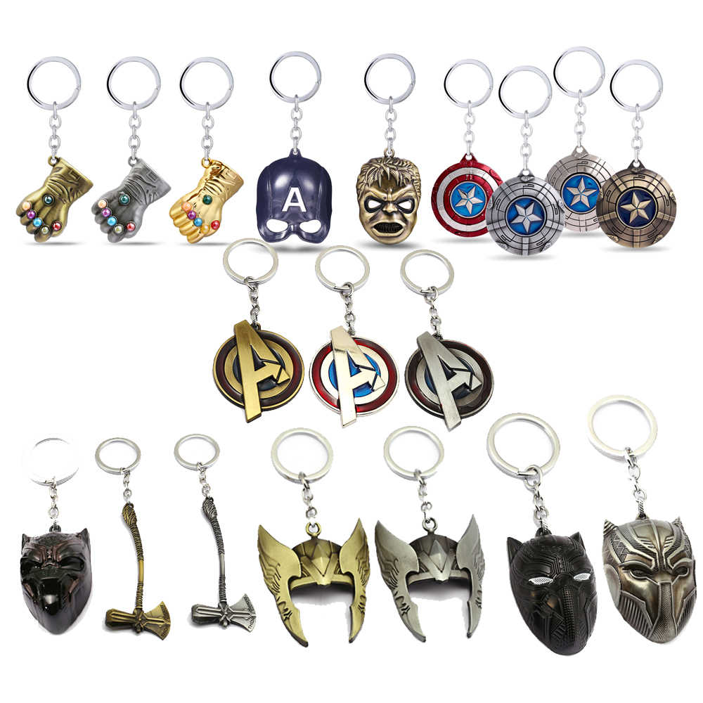 Porte Clef Original Design Marvel Jewelry Superheroes Mask The Avengers Logo Style Metal Pendant Keychains Axe Fist Keyring Porte Clef Chaveiro Key Holder