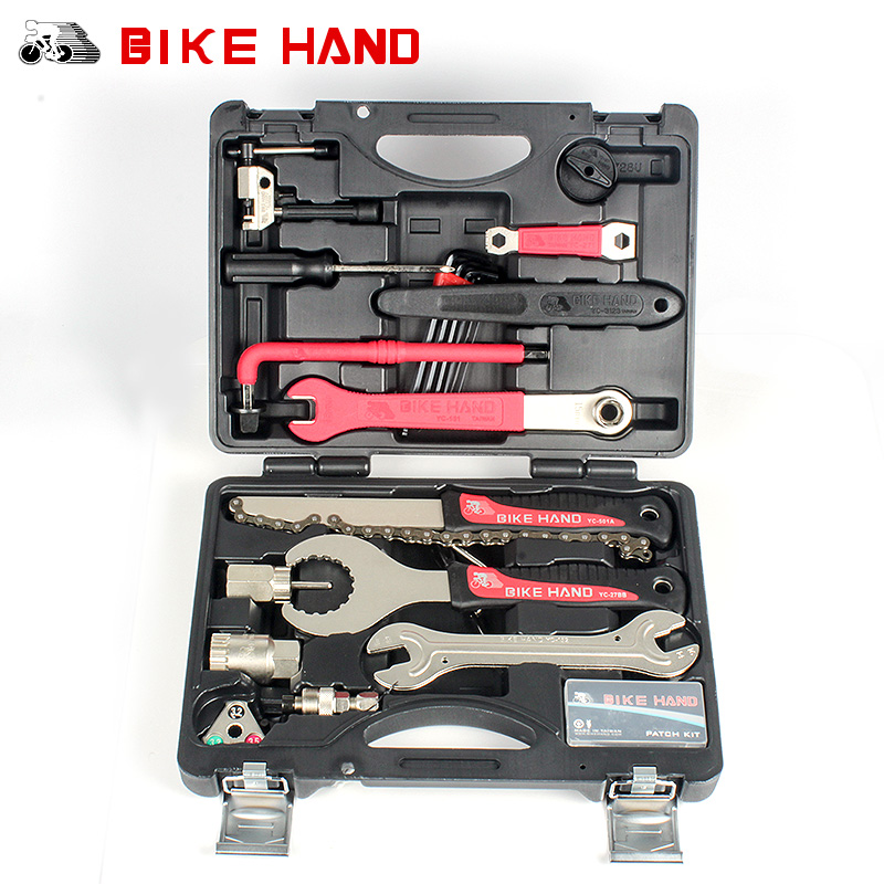 BIKEHAND 18 In 1 Multifunctional Bicycle Tools Kit Portable Bike Repair Tool Box Set Hex Key Wrench Remover Crank Puller Tool pro skit 8pk 02730 in 1 sae6150 metric inch combination hex key wrench set black