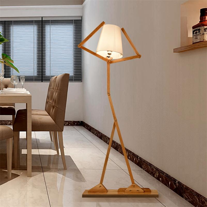 Nordic creative wooden floor lamps e27 log fabric stand for Floor lamps for living room