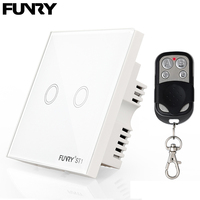 Funry ST1 2Gang UK Standard Smart Remote Control Switch 170V 240V RF433MHz Luxury Glass Panel Led
