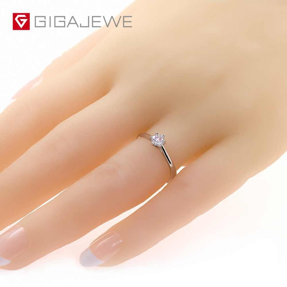 GIGAJEWE 0.3ct 4mm รอบตัด EF VVS1 Moissanite 925 แหวนเงินเพชรผ่านการทดสอบแฟชั่น Love Token แฟชั่นแฟนของขวัญ