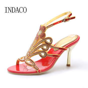 New Rhinestone Sandals Thin High Heel Shoes Wedding Shoes Strappy Heels Sandales Femme 7.5cm Chaussures Mariage