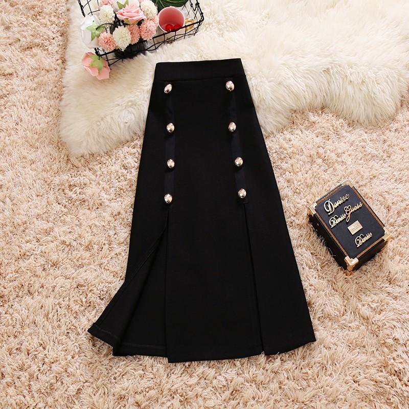 2018 summer new female solid color Double breasted split ends pencil skirts womens slim high waist package hip skirt