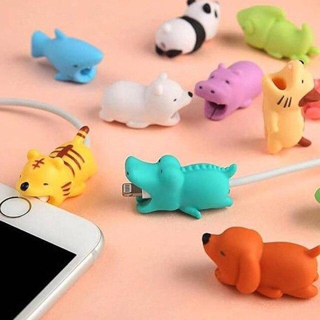 Cubierta protectora del Cable de datos del Protector del Cable de la línea del tiburón de los gatos de la Panda de la historieta para el Cable de carga del USB del iPhone