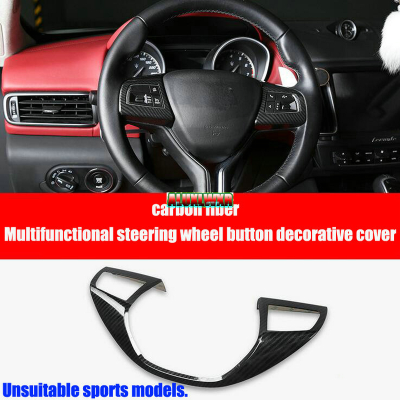 car-styling Carbon Fiber Steering Wheel Cover Trim Decoration For Maserati Levante 2016 2017 Ghibli 2014 to 2016 car Accessories epr car styling for nissan skyline r33 gtr type 2 carbon fiber hood bonnet lip