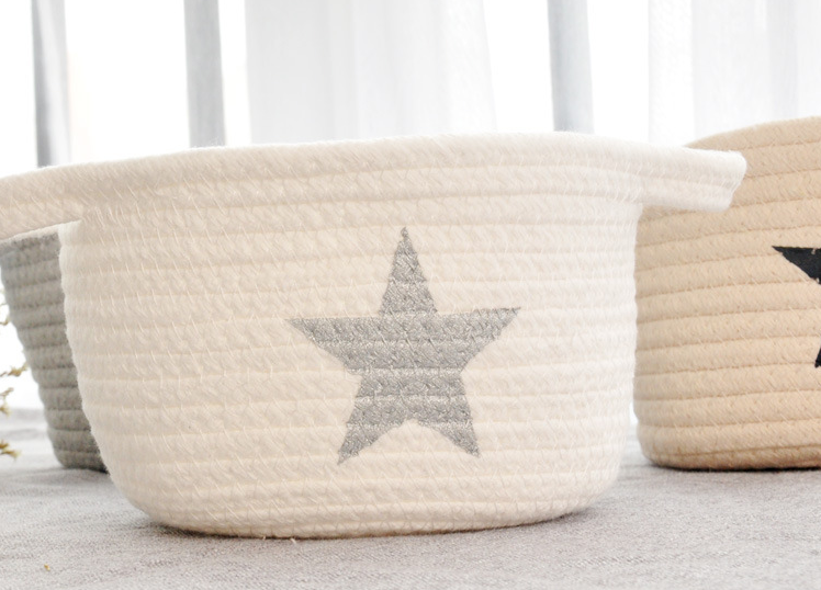 Small Washable Laundry Basket Storage Office Sundries Cotton Thread Handmade Knitting Ball Rattan Flower Basket Organizer Hamper