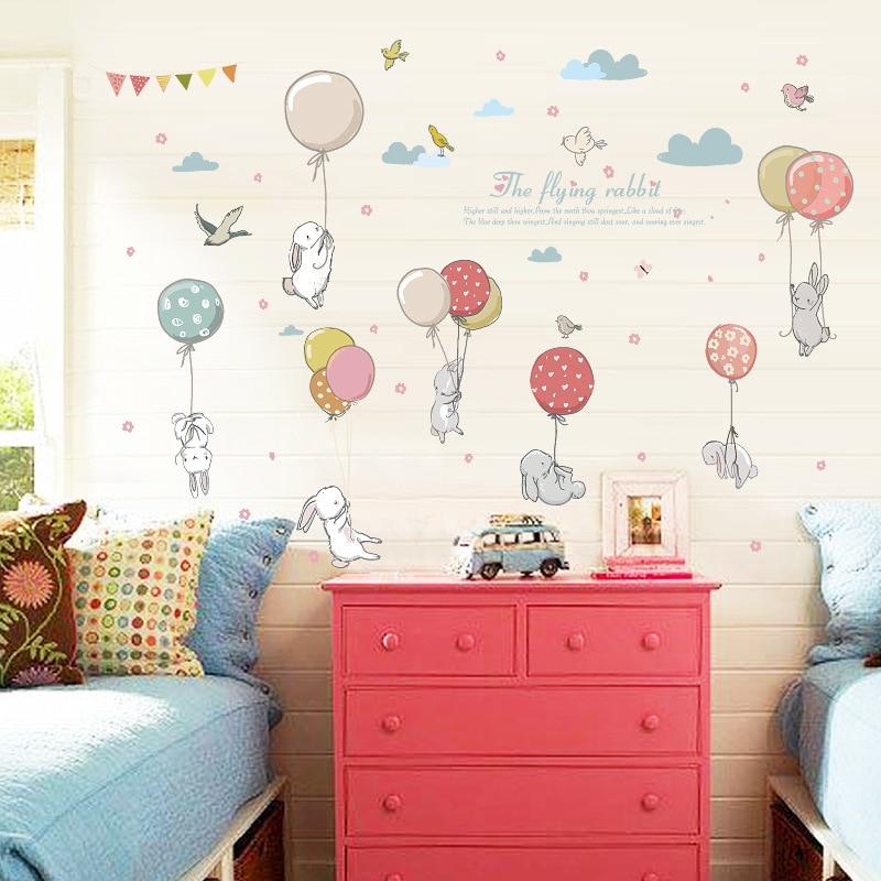 Lapin Ballon Wall Sticker Enfants Chambre Décoration Maternelle Classe Art Fond Autocollant Mural