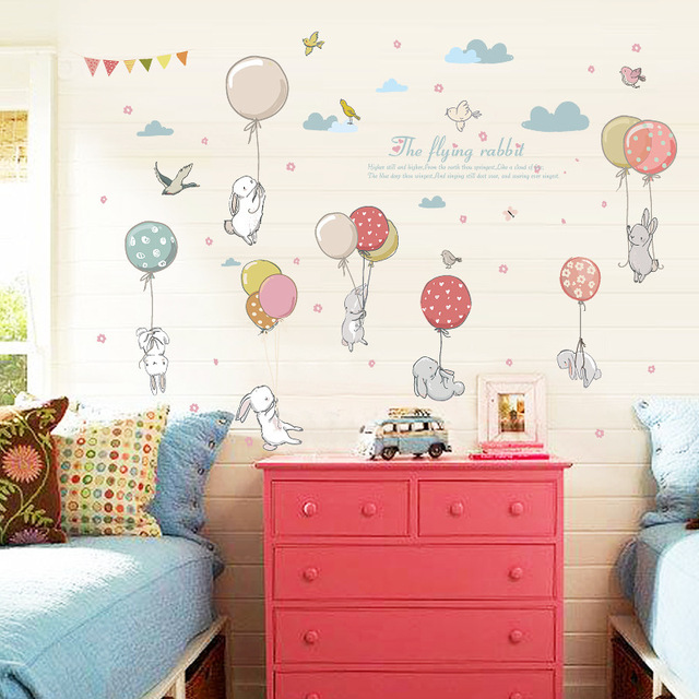 Rabbit Balloon Wall Sticker Kids Room Decoration Kindergarten Classroom Art Background Autocollant Mural