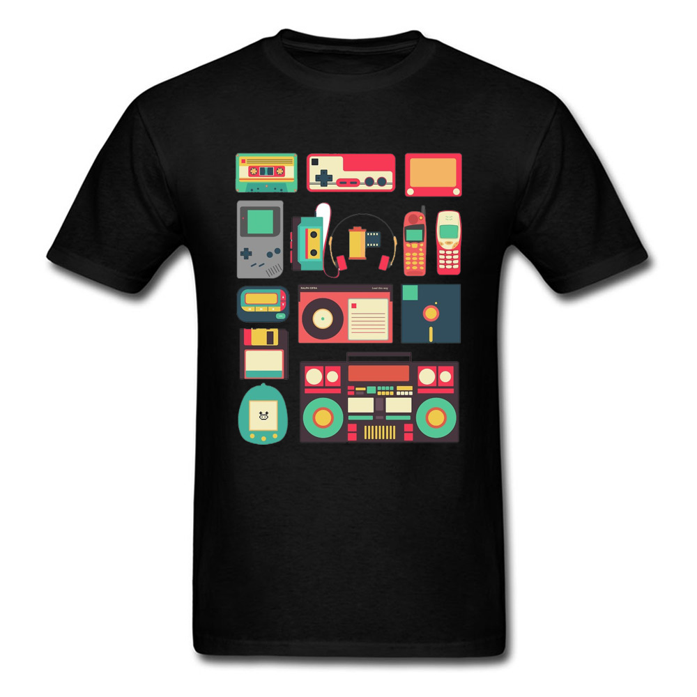 Techno Game PC T Shirt Console Cassette Controller Telephone Technology Videogame Black Tshirts For Men High Quality Print