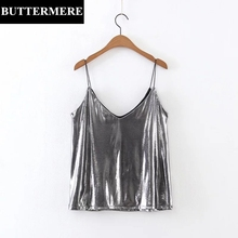 BUTTERMERE Tank Top Women Spaghetti Strap Backless Top Silver Solid V-Neck Slim Sexy Casual Hawaiian Clubwear Short Camis Colete