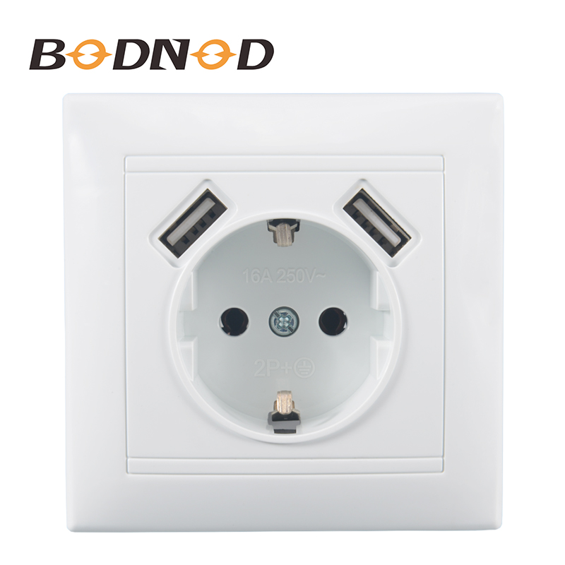 2 USB Wall Socket Free Shipping Hot European Standard Wall Adapter 5v 2A Connector Output With A USB Socket 16A 250V LG-19
