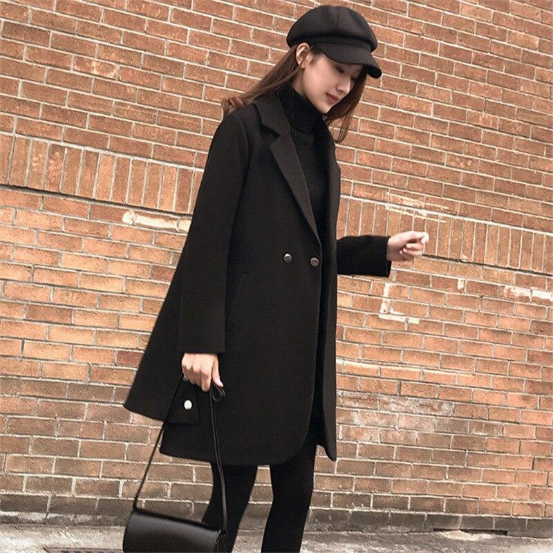 Manteau Élégantes Style 2018 Long Laine Vintage Noir Femmes Coréenne Manteaux Mode D'hiver Lâche NnkwP8OX0