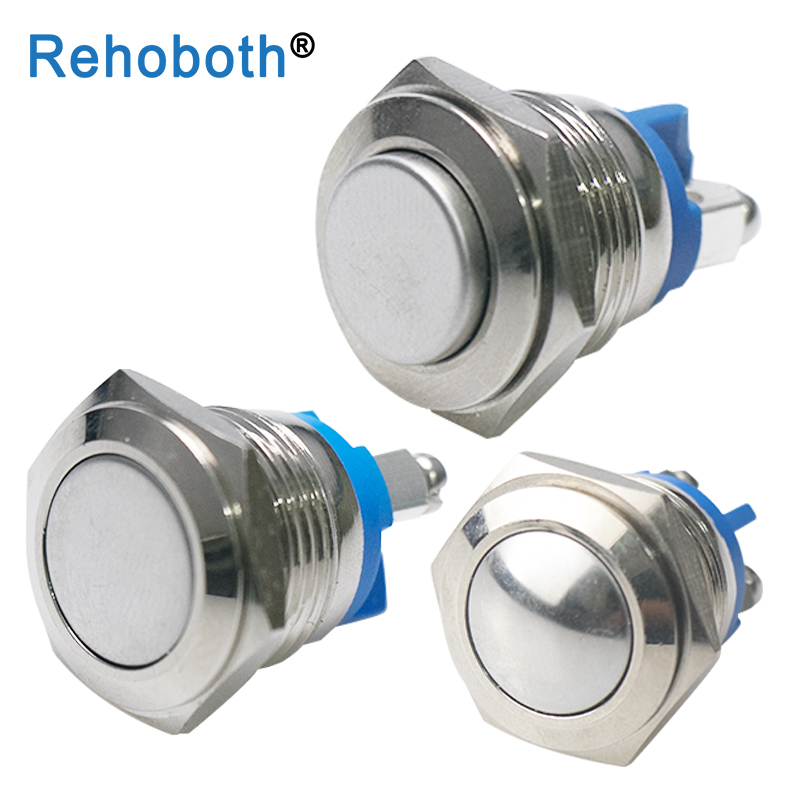 Switch IP67 Press-Button Round Momentary Brass Waterproof 16mm Metal Self-Reset Nickel-Plated