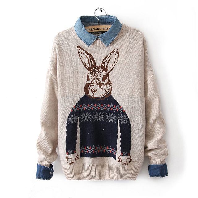 2013 Winter Mrter Rabbit Pattern Print Knitted Pullover Sweaters