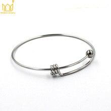 Wholesale 62mm Adjustable Set Stainless Steel Bracelets Bangles Cuff Bracelet Silver Color Expandable Wrist Bangles For Women все цены