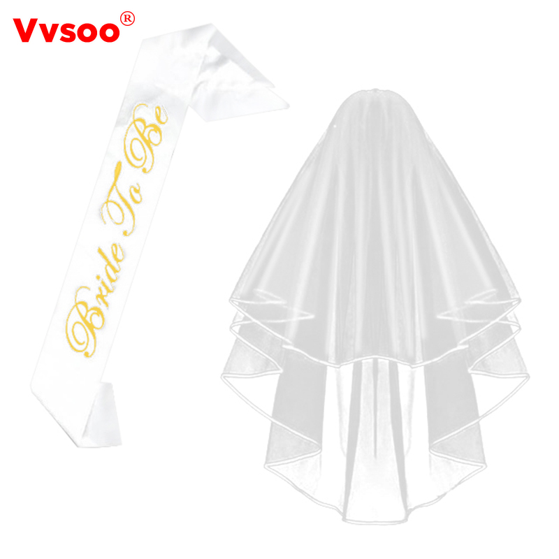 Vvsoo White Bridal Wedding Veil Bride To Be Satin Sash Bachelorette Party girls Hen Party Bridal Shower Kit Decoration Supplies
