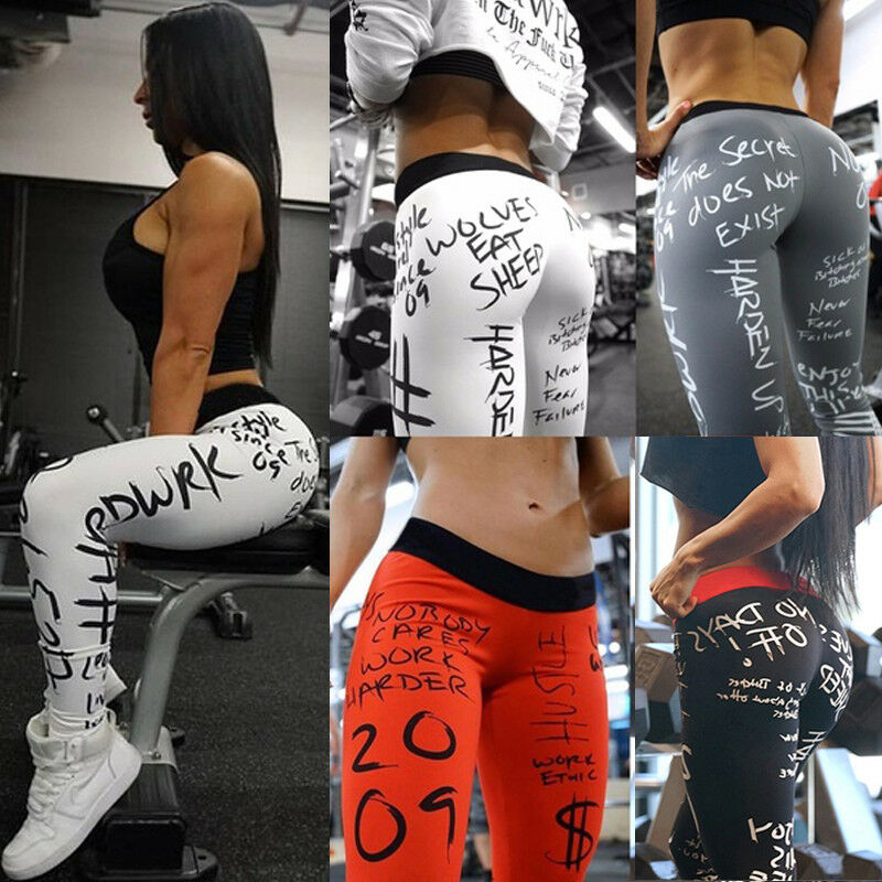Hirigin Women Casual Gym Sports Leggings Run Workout Fitness Stretch Low Waist Letter Print Pants White/Red/Black/Gray Available