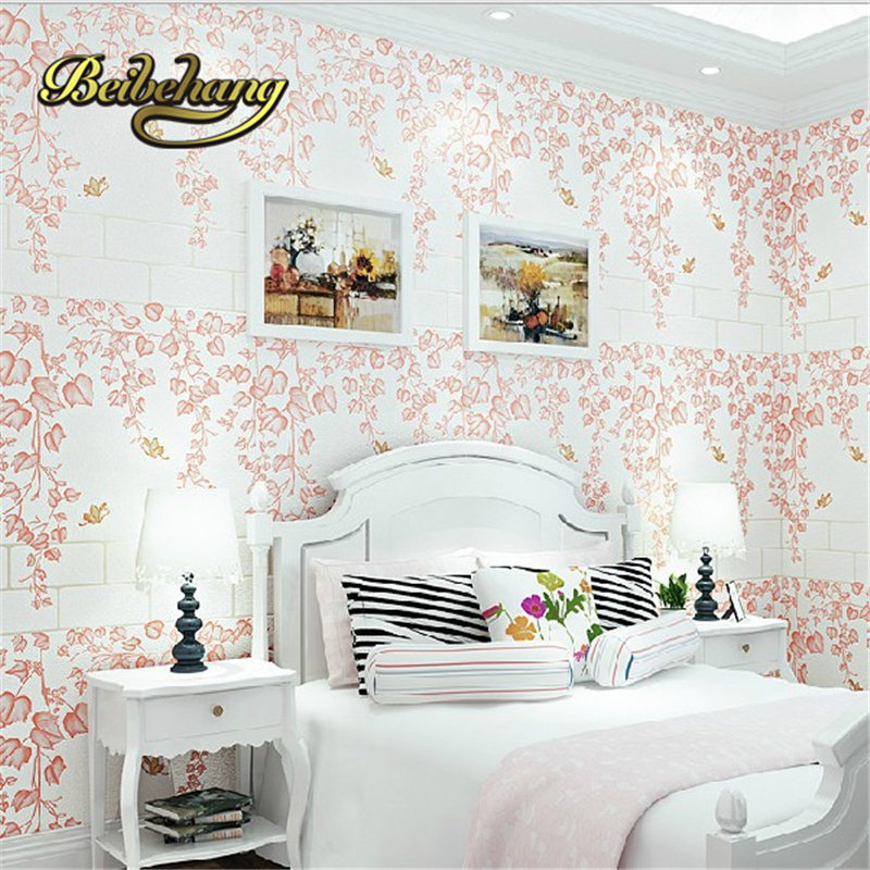 beibehang papel de parede Romantic garden fresh rattan non-woven bedroom living room sofa background wallpaper 3d wall paper 2017 new summer pep toe woman sandals platform thick heel summer women shoes hook