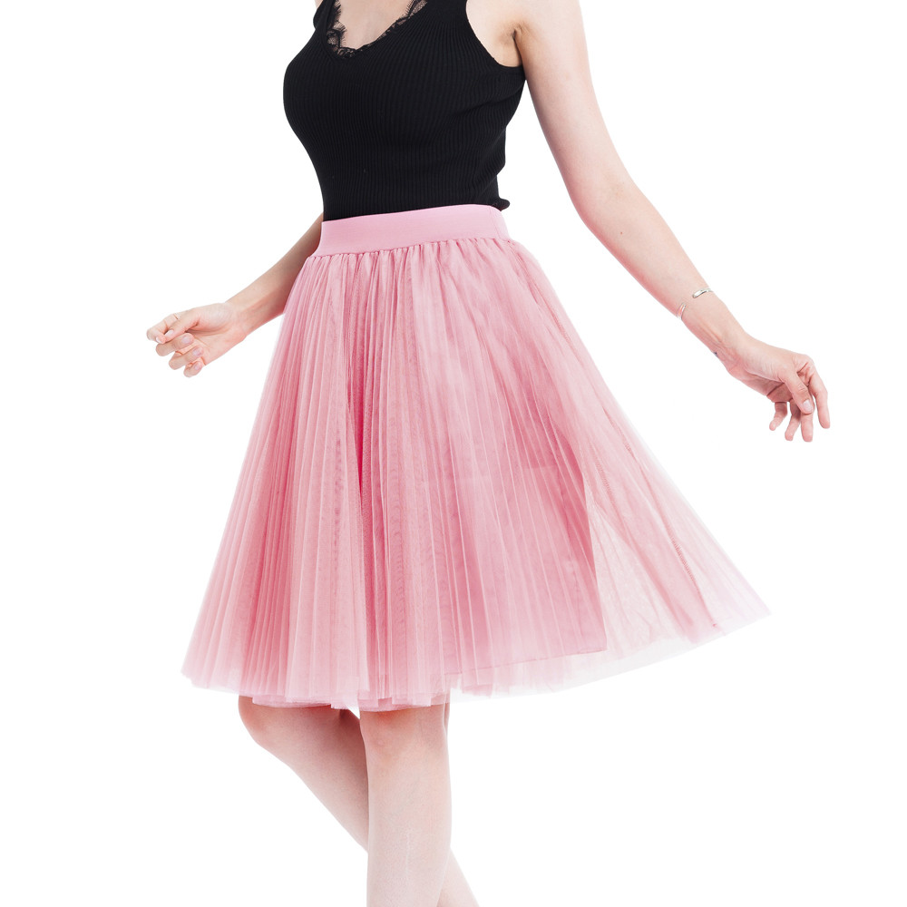 2119fbb5e492 Sports & Outdoors Tulle Skirt for Women A Line 4 Layers High Waist Pleated  Solid Color Midi ...