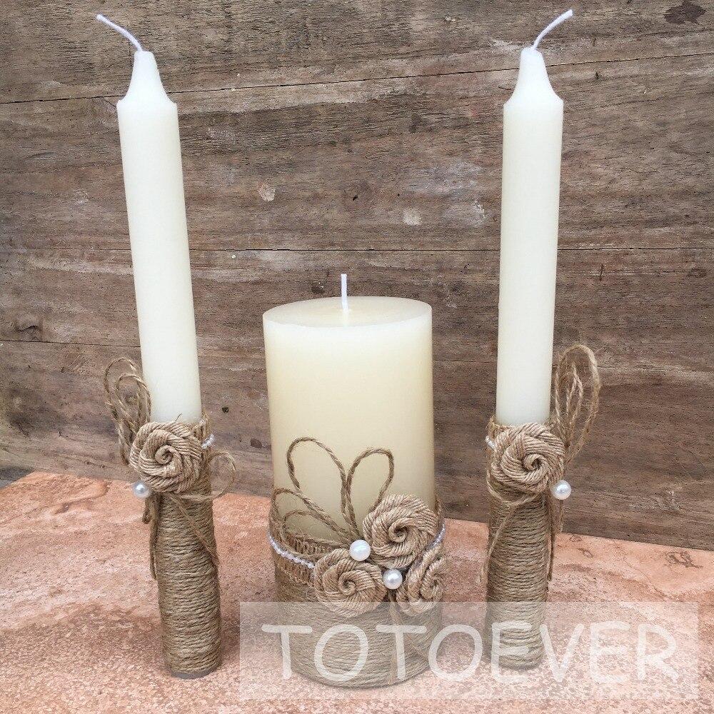 1 ensemble rustique mariage bougies rustique unité bougie ensemble avec toile de jute corde de mariage dîner Table bougie décoration