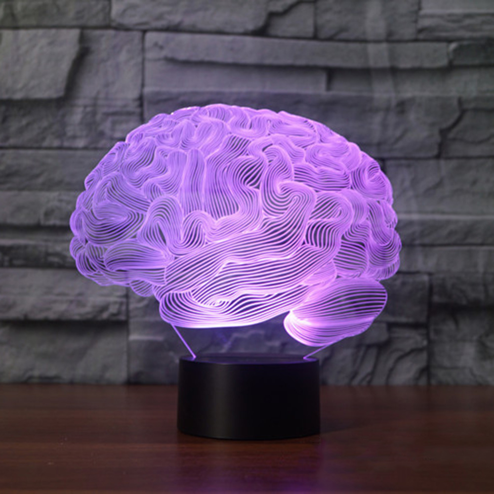 3D иллюзия Лампа в форме мозга изменение цвета сенсорный выключатель светодиодный ночник акриловая настольная лампа атмосфера лампа Новинк...