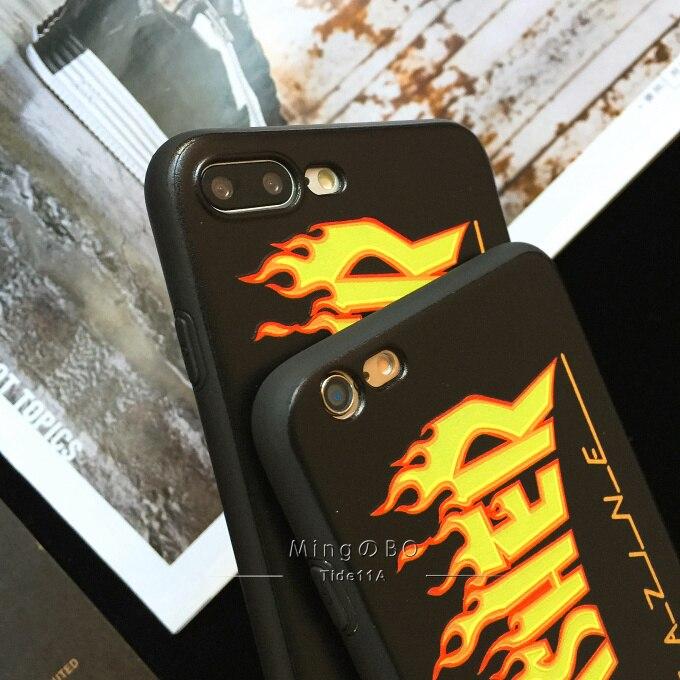 promo code 963b2 9e03d THRASHER case for iphone 5 5s se6 6plus 6s plus 7 7plus 8 X EA Fashion  street Trend brand Soft silicone phone cover durable coqu